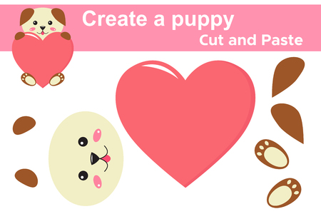 Create a dog, educational paper game for children. Valentines day theme. Cut and paste. Scissors and glue. Kawaii. Vector illustration.