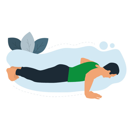 Young men are doing the push up plank exercise. Gym workout exercise. Modern flat vector illustration.