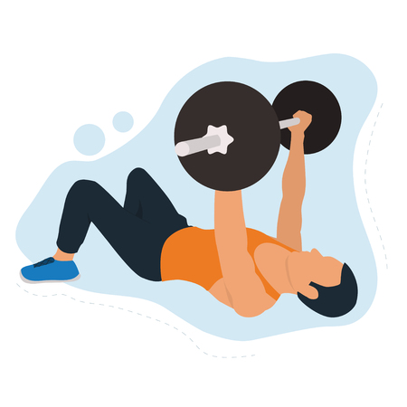 Young man doing bench press workout. Fitness concept training. Modern flat vector illustration.