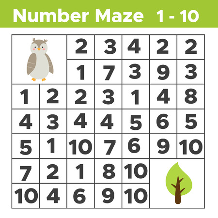 Number maze, math puzzle game for children. Help the owl find a tree. Counting from one to ten. Worksheet for preschool and school kids. Vector illustration.