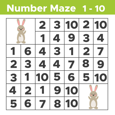 Number maze, math puzzle game for children. Help the rabbit find his friend. Counting from one to ten. Worksheet for preschool and school kids. Vector illustration.