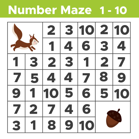 Number maze, math puzzle game for children. Help the squirrel find a acorn. Counting from one to ten. Worksheet for preschool and school kids. Vector illustration. Illustration