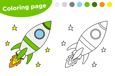 Educational game for preschool kids. Printable coloring page or book, with rocket. Vector illustration.