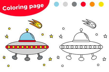 Printable coloring page with UFO. Educational game for preschool kids. Space day. Vector illustration.