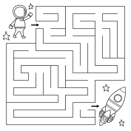 Maze game for kids, help the astronaut find right path to the rocket. Coloring page. Vector illustration. Illusztráció