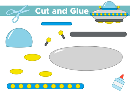 Education paper game for preschool kids. Create the applique cartoon UFO. Cut and glue. Space theme. Vector illustration.