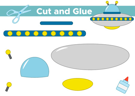 Education paper game for preschool kids. Create the applique cute cartoon UFO. Cut and glue. Vector illustration.