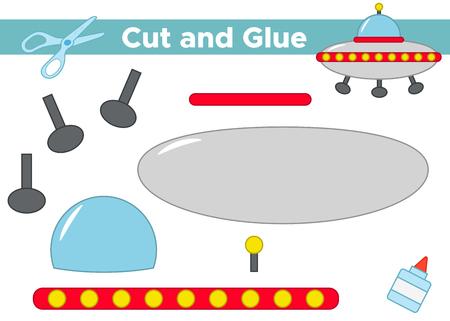 Education paper game for preschool kids. Create the applique alien's UFO. Cut and glue. Vector illustration. Ilustração