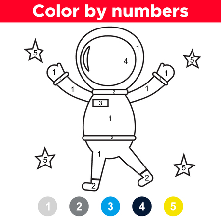 Color by number for preschool and school kids. Coloring page or book with astronaut. Space theme. Vector illustration. Illustration