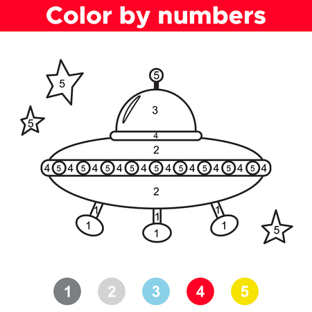 Color by number for preschool and school kids. Coloring page or book with alien's UFO. Space theme. Vector illustration. Çizim