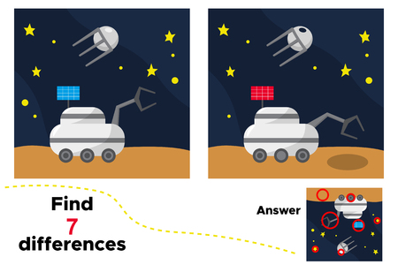 Cartoon moon loader, satellite and stars. Educational game for children. Find 7 differences. Space theme. Vector illustration.