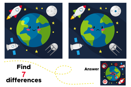 Cute cartoon earth, satellite, rocket and moon. Educational game for children. Find 7 differences. Earth day. Vector illustration.