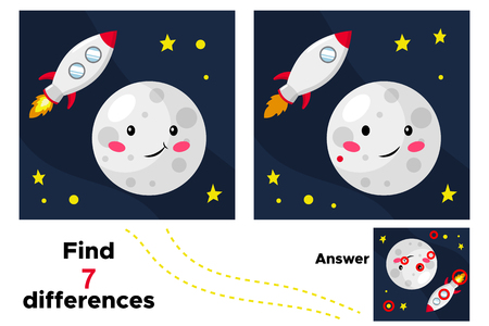 Cute cartoon moon. Educational game for children. Find 7 differences. Space theme. Vector illustration.