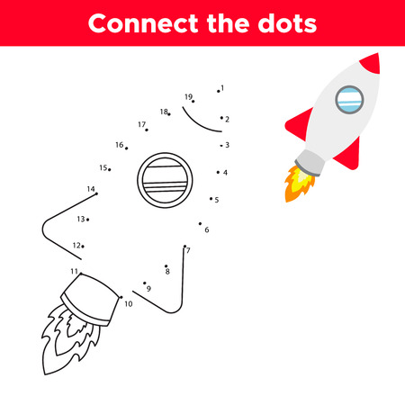 Dot to dot game, numbers game for children. Cute cartoon rocket. Space theme. Vector illustration. Ilustração