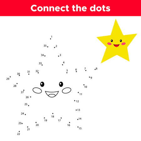 Dot to dot game, numbers game for children. Cute cartoon kawaii star. Space theme. Vector illustration.