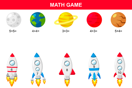 Math educational game for kids. Printable addition activities worksheet. Rockets and planets. Vector illustration.