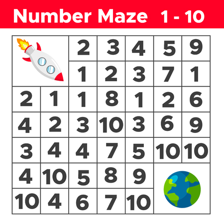 Number maze, math puzzle game for children. Help the rocket find way to the earth. Counting from one to ten. Worksheet for preschool and school kids. Vector illustration. Stock Illustratie
