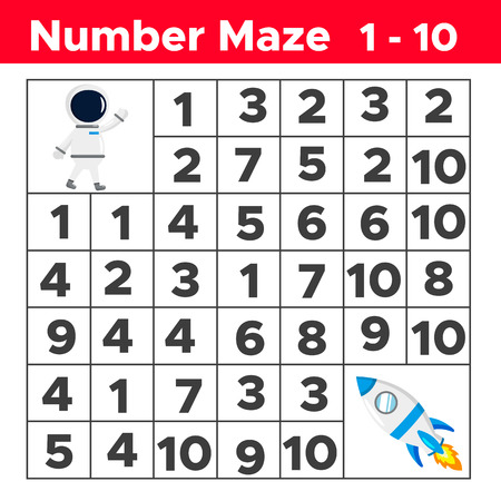 Number maze, math puzzle game for children. Help the astronaut find way to the rocket. Counting from one to ten. Worksheet for preschool and school kids. Vector illustration.