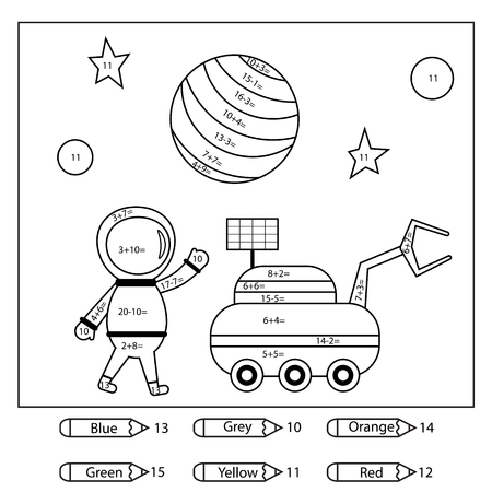 Educational coloring page for kids. Paint color by subtraction and addition numbers. Cartoon astronaut, moon loader and planets. Space theme. Vector illustration.