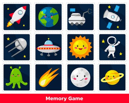Memory game for preschool kids. Cute cartoon planets, sun, astronaut, satellite, UFO, aliens. Space theme. Solar system. Vector illustration. Ilustración de vector