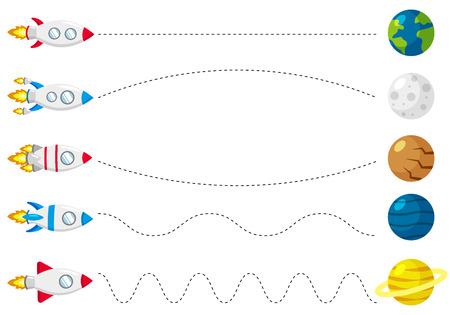 Feuille de travail de ligne de trace pour les enfants, pratiquant la motricité fine. Aidez la fusée à voler vers les planètes. Jeu éducatif pour les enfants d'âge préscolaire. Illustration vectorielle.