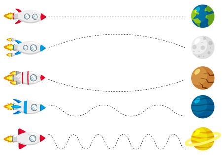 Hoja de trabajo de trazado de líneas para niños, practicando habilidades motoras finas. Ayuda a que el cohete vuele a los planetas. Juego educativo para niños en edad preescolar. Ilustración vectorial.