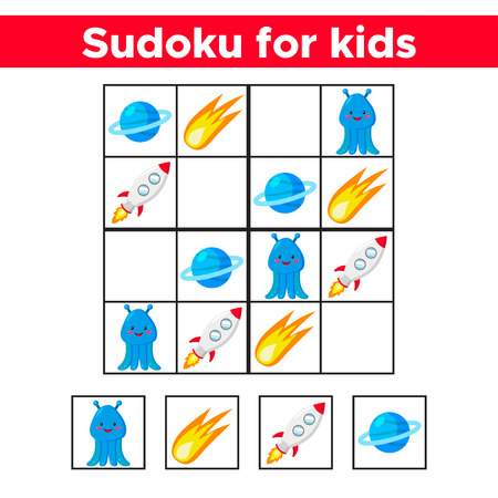 Sudoku for children. Cute cartoon space objects: rocket, comet, planet Uranus and alien. Education game. Vector illustration. Banque d'images - 120361968