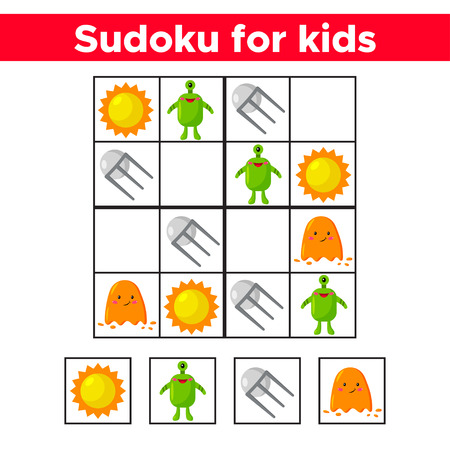 Sudoku for children. Cute cartoon space objects: aliens, sun, satellite. Education game. Vector illustration. Banque d'images - 120361972