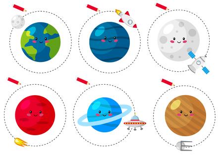 Hoja de trabajo de trazado de líneas para niños, practicando habilidades motoras finas. Juego educativo para niños en edad preescolar. Lindos planetas kawaii. Ilustración vectorial.