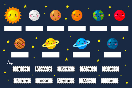 Learn the planets, educational game for preschool kids. Cut and glue planets name. Solar system. Cartoon kawaii characters. Vector illustration.