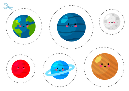 Cutting practice worksheet for preschool kids. Educational game. Space theme. Cute cartoon planets: earth, mars, moon, uranus, jupiter and neptune. Vector illustration.