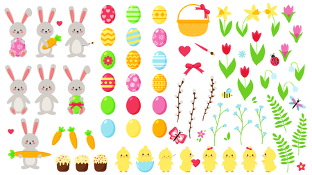 Big Easter vector set. Cute kawaii characters: rabbits and chicks. Hand drawn flat spring flowers. Easter eggs. Decoration elements. Ilustracja