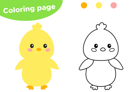 Easter coloring page, cute kawaii chick. Educational game for preschool kids. Vector illustration. Vector Illustration