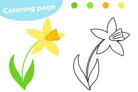 Frühlingsmalvorlagen, süße Cartoon-Narzisse. Lernspiel für Kinder im Vorschulalter. Vektor-Illustration. Vektorgrafik