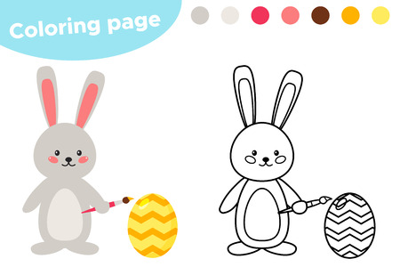 Spring coloring, cute cartoon Easter bunny paints an egg. Educational game for preschoolers. Vector illustration.