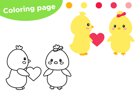 Easter coloring page, cute kawaii chicks with heart. Educational game for preschool kids. Vector illustration. Vector Illustration
