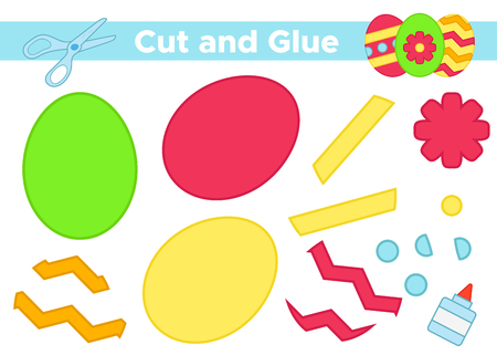 Education paper game for preschool kids. Create the applique cute Easter eggs. Cut and glue. Vector illustration.