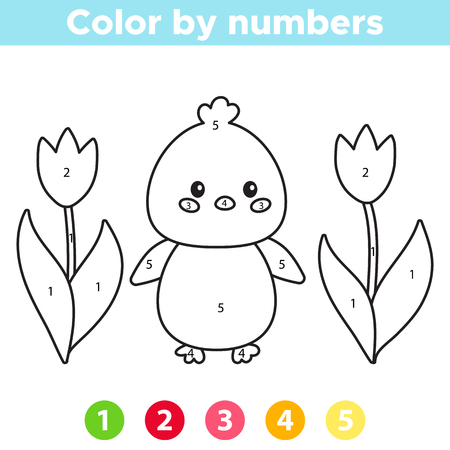 Color by number for preschool kids. Coloring page or book with cute kawaii chick and spring flowers - tulips. Vector illustration.