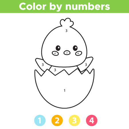 Color by number for preschool kids. Coloring page or book with cute kawaii chick in the eggshell. Vector illustration. 일러스트