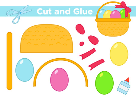 Education paper game for preschool kids. Create the applique Easter eggs in basket with bow. Cut and glue. Vector illustration. Çizim