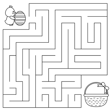 Easter maze game for preschool kids. Coloring page. Help the chick with egg find right way to the basket. Vector illustration.