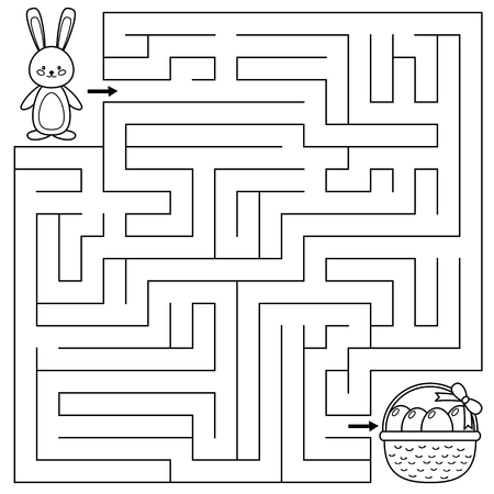 Easter maze game for preschool kids. Coloring page. Help the bunny find right way to the Easter eggs. Vector illustration. Çizim
