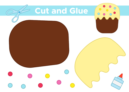 Education paper game for preschool kids. Create the applique Easter cake. Cut and glue. Vector illustration.