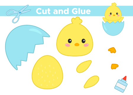 Education paper game for preschool kids. Create the applique cute cartoon kawaii chick in eggshell. Cut and glue. Vector illustration. Çizim