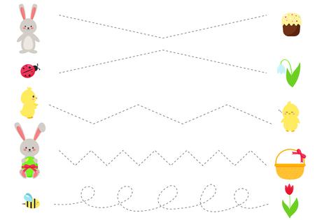 Feuille de travail de ligne de trace pour les enfants, pratiquant la motricité fine. Lapin et oeufs de Pâques Kawaii, poussins, fleurs printanières, coccinelle et abeille. Jeu éducatif pour les enfants d'âge préscolaire.