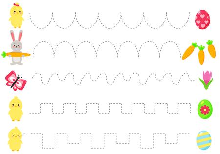 Trace lijn werkblad voor kinderen, fijne motoriek oefenen. Cartoon kawaii eieren en konijn, lentebloemen, kuikens en vlinder. Educatief spel voor kleuters.