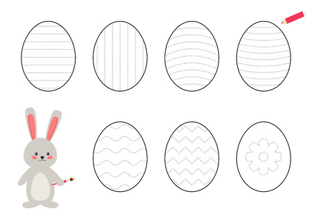 Trace line worksheet for kids, practicing fine motor skills. Help the rabbit draws and paints Easter eggs. Educational game for preschool kids. Ilustración de vector