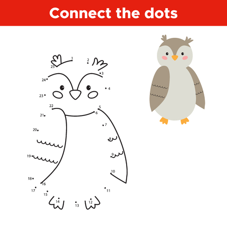 Dot to dot game, numbers game for children. Cartoon vector owl. Woodland animals.