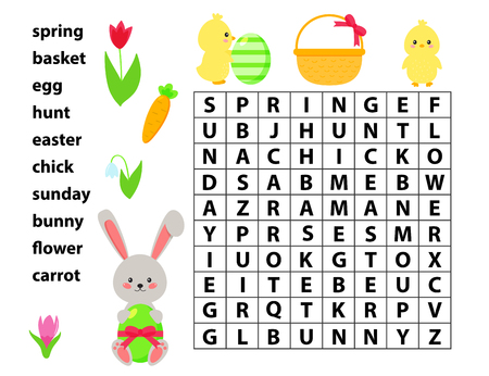 Easter educational game for kids. Word search game. Spring theme. Vector bunny, chick, flowers and Easter eggs. Stock Vector - 120362043