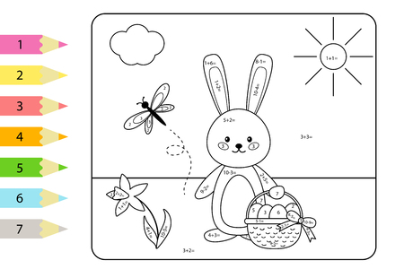 Educational coloring page for kids. Paint color by subtraction and addition numbers. Vector Easter rabbit with basket of eggs. Spring theme. Illustration